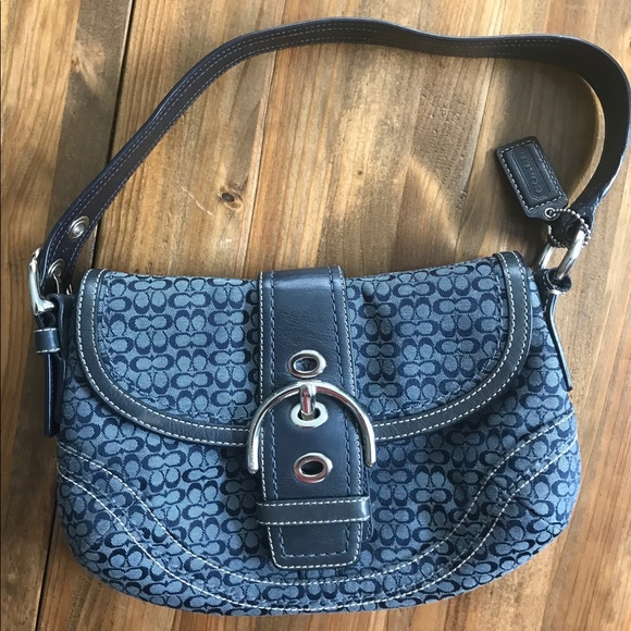 5d78d98145 Coach Handbags - Coach Navy Blue Signature Logo Small Shoulder Bag
